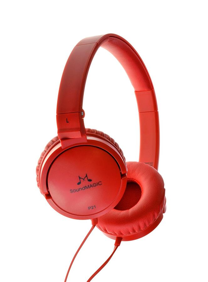 SoundMAGIC P21 Foldable Closed Back On Ear Headphones - Red
