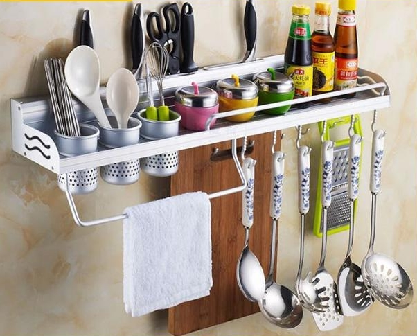 Space aluminum kitchen shelving kitchen accessories kitchen knife rack