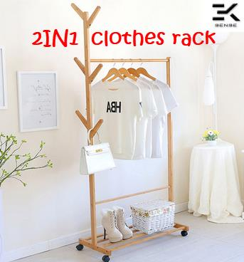 2IN1 Wood Clothes Hanger Storage Rack With Wheel