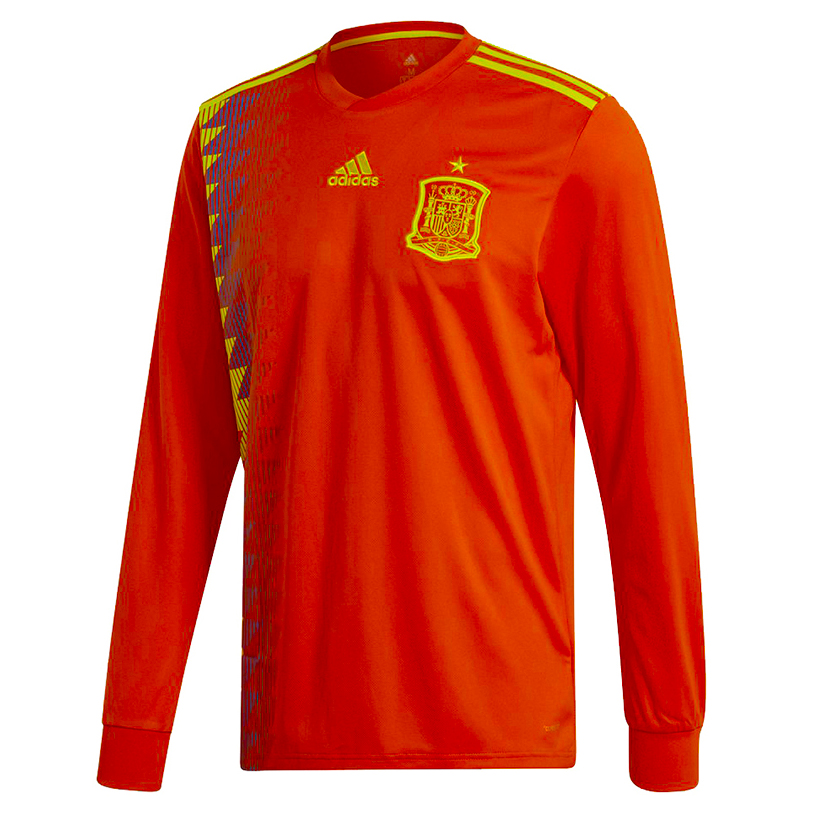 sports shoes 1e156 f819c Spain Men Home Long Sleeve World Cup 2018 CLIMALITE Fans Jersey