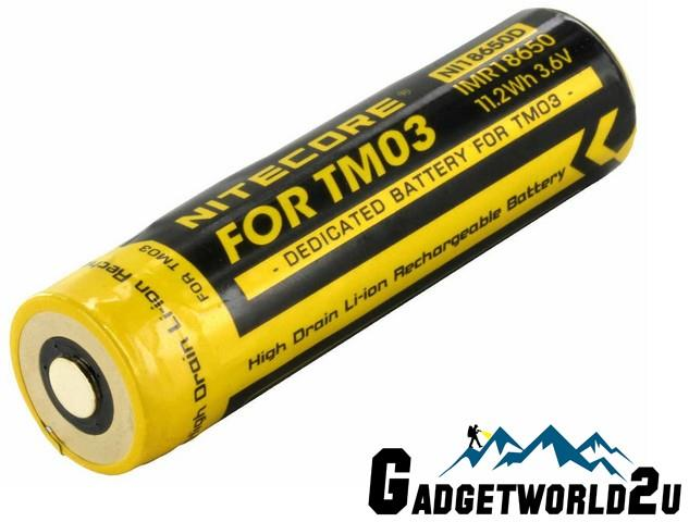 Spare 18650 Li-ion Rechargeable Battery for Nitecore TM03 Flashlight
