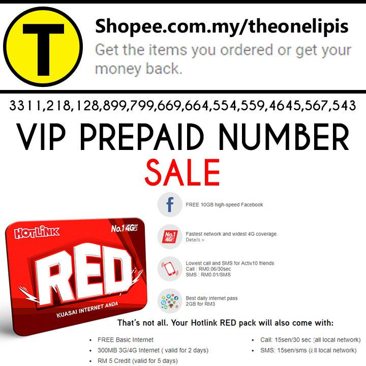 Special OFFER Hotlink ViP Prepaid Number -  Start From : RM15.00