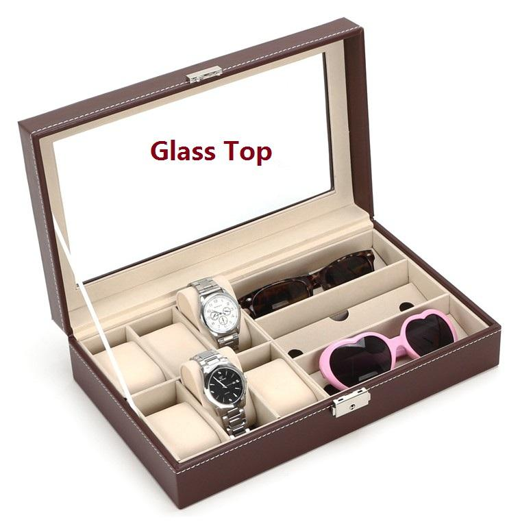 Spectacles Watch Sun Glasses Display Box Case Casing PU Glass Top