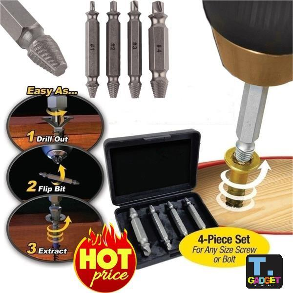 4 In 1 Screw Extractor Drill Bits Guide Set Broken Damaged Bolt Remover Easy Out #1 #2 #3 #4 With Case Back To Search Resultstools Drill Bits