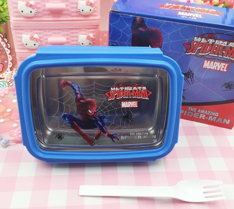 Spiderman S/steel Lunch box with fork - XYJ128S