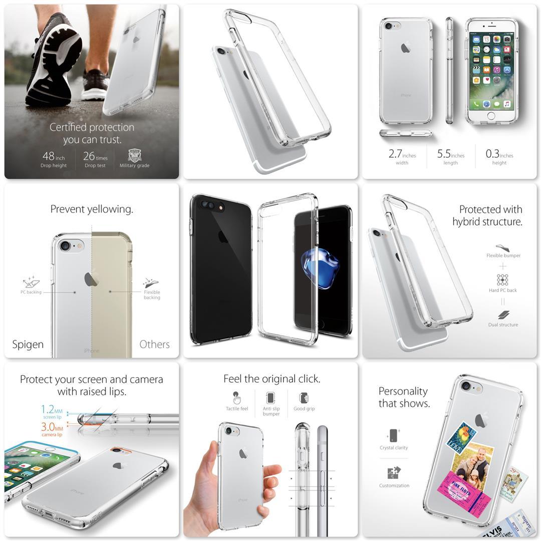 Spigen Ultra Hybrid Case for Apple iPhone 7 Plus (Crystal Clear)