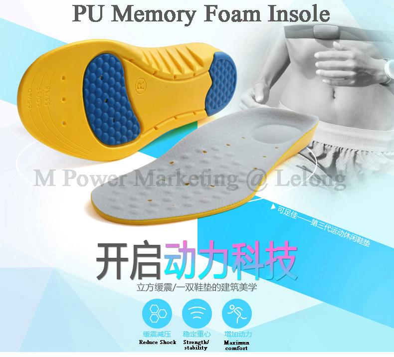 Sport PU Memory Foam Insole Arch Hell Support safety shoes insole