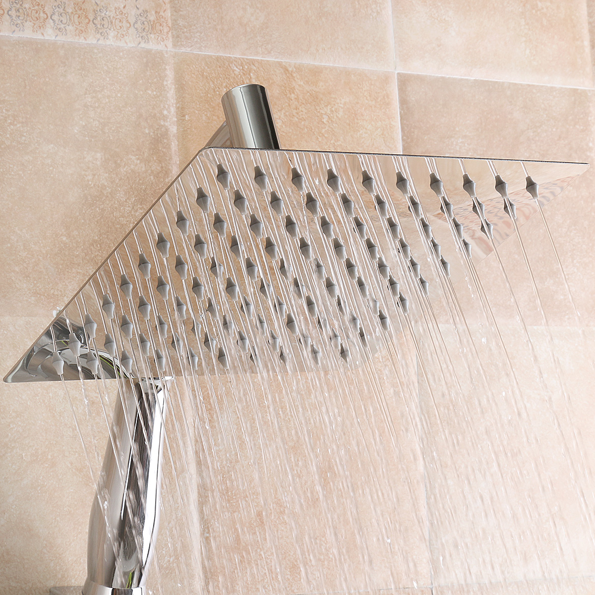 Square 8 Inch Rainfall Shower Head Extension With Shower Arm Hose Kit