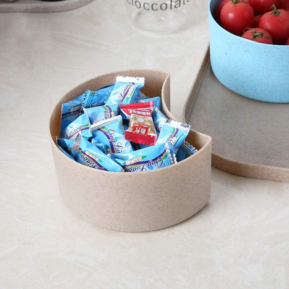 Square Candy Snack Box With Lid 4 Compartments Wheat Straw