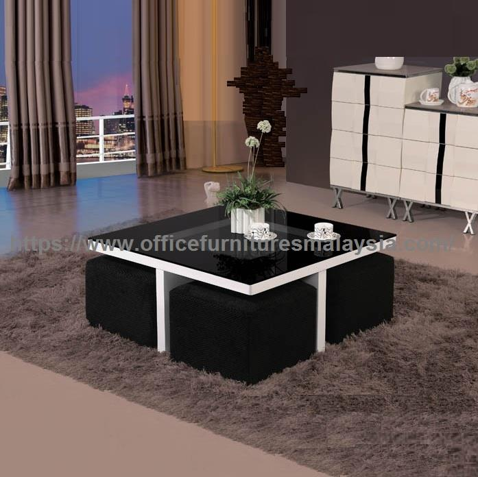 Square Coffee Table With Sofa Stools Underneath YGT-9512W Cheras