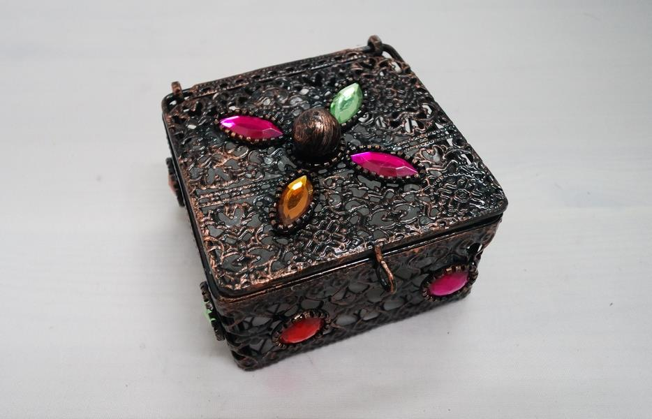 Square Metal Box with Acrylic Gems