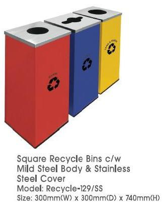 Square Recycle Bins 3in1 C/w Mild Steel Body & SS Cover Recycle 129SS