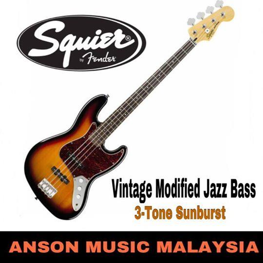 Squier Vintage Modified Jazz Bass, 3-Tone Sunburst