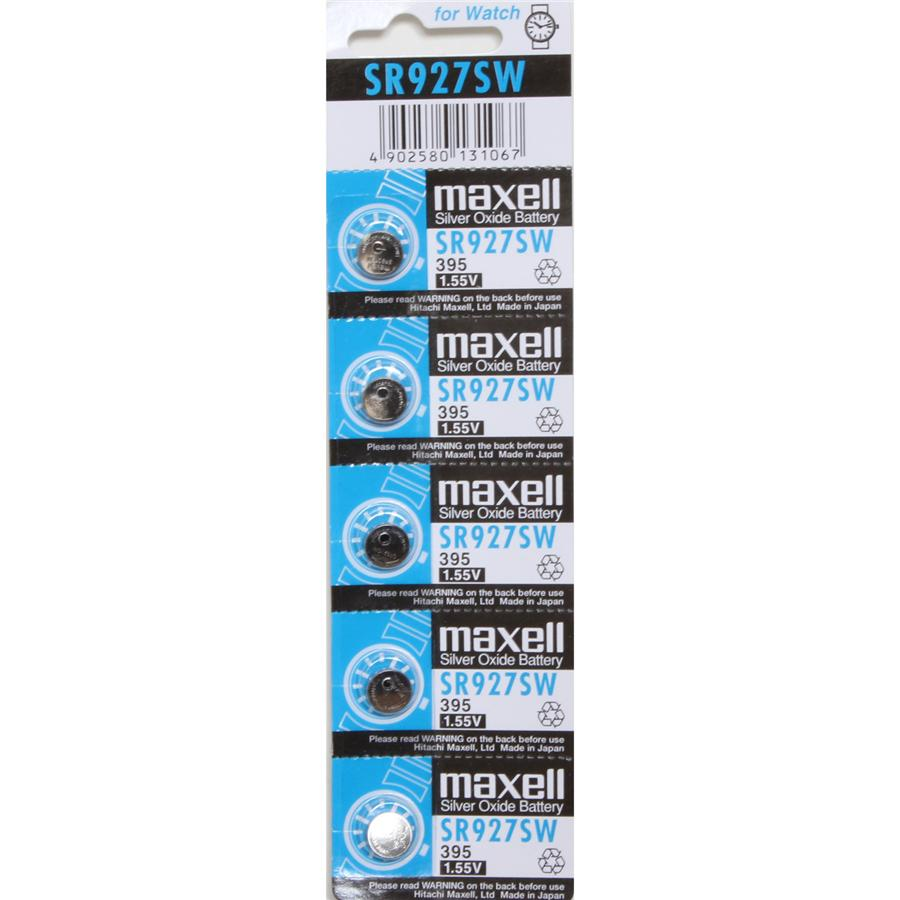 SR927SW (395) Maxell Silver Oxide Battery - Pack of 5