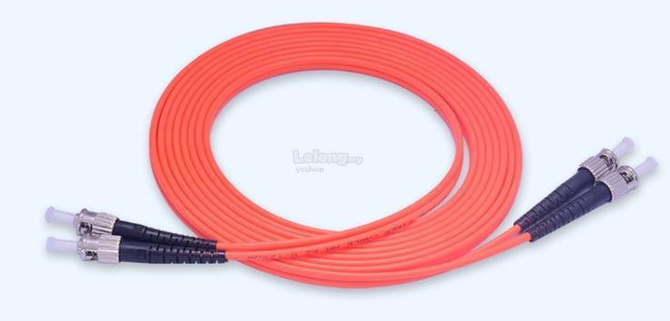 ST-ST MULTIMODE MM DUPLEX 50/ 125 FIBER OPTIC CABLE 5 METER (S399)