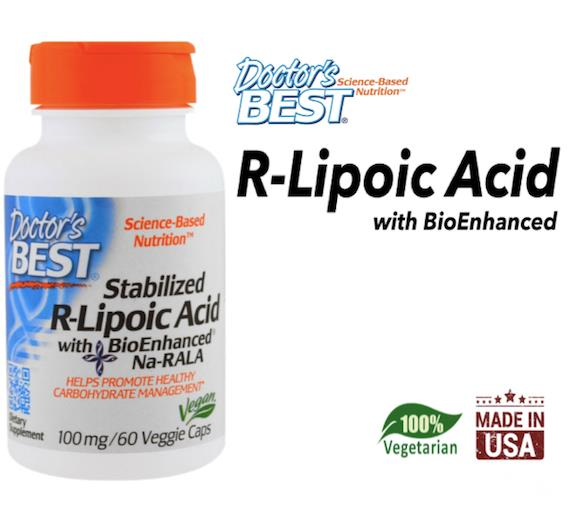 Stabilized R-Lipoic Acid, 100 mg, 60 Veggie Caps (Made in USA)