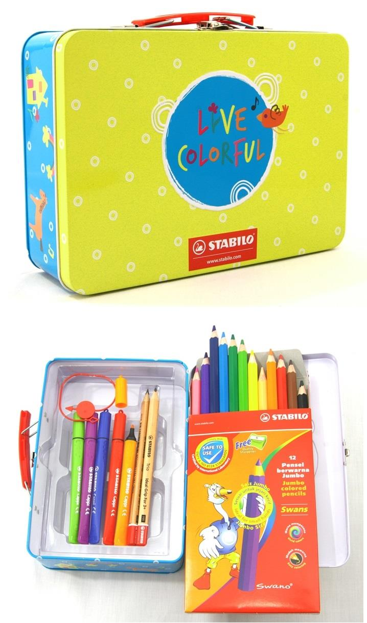 STABILO Color Pencil Trio Jumbo HB Pencils Cappi Fibre-tip Pen Set