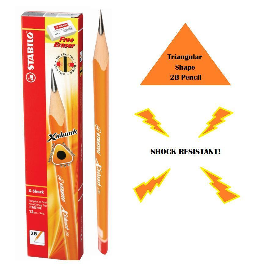 STABILO X-Shock Triangular 2B Pencil (Box of 12) FREE 1 x Eraser