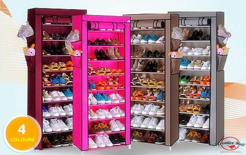 Stackable Shoe Cabinet 10 Tier 9 Column Dust Cover Shoe Rack