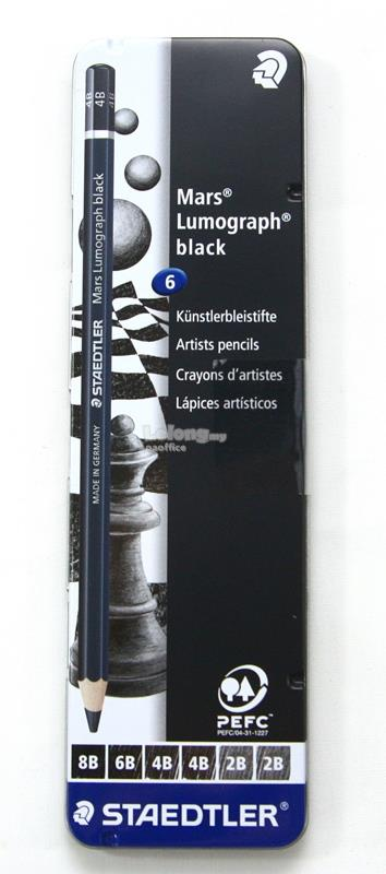 STAEDTLER Mars Lumograph black Artists Pencils 100B Tin of 6pcs