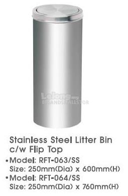 Stainles Steel Round Litter Bin Flip Top RFT063SS 600mm RFT064SS 760mm
