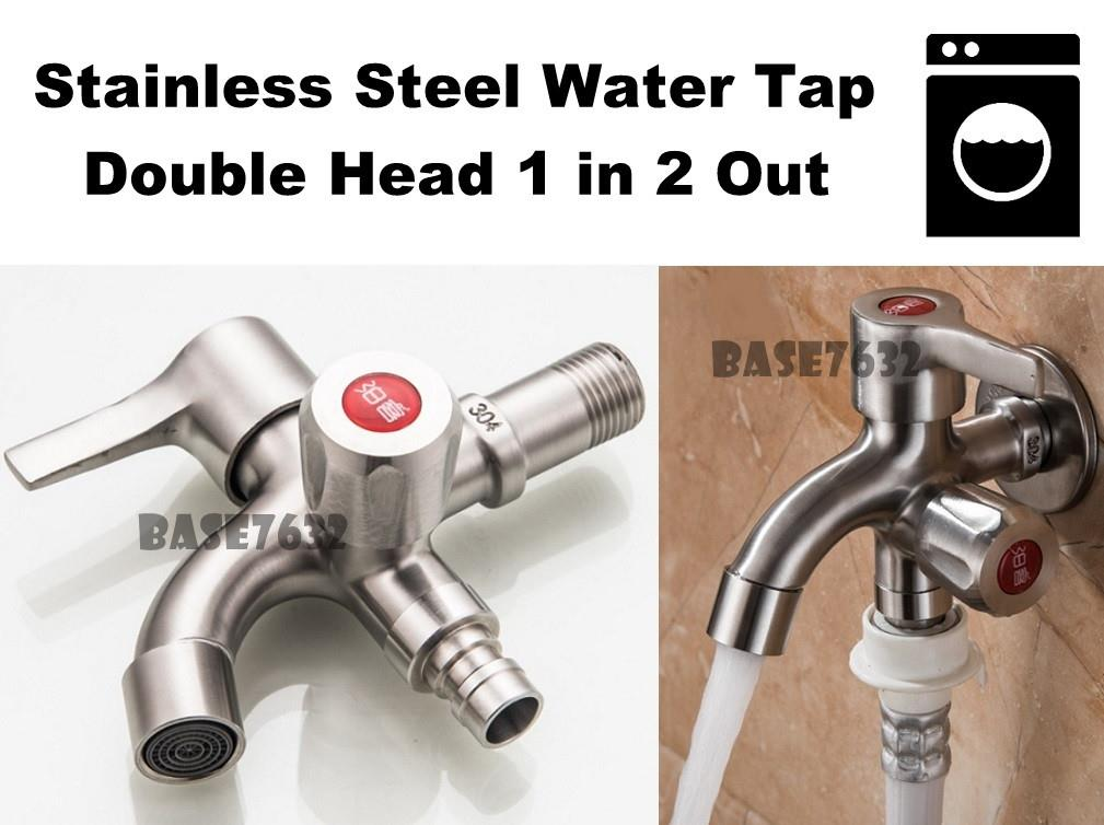 Stainless Steel 304 1 in 2 out Two Way Water Tap Faucet  2161.1