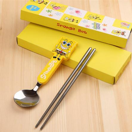 Stainless Steel Cartoon Kid Tableware 2 pcs (Sponge Bob)