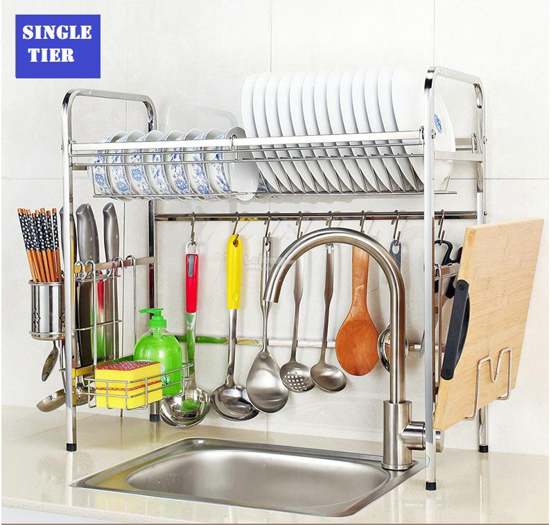 Stainless Steel Kitchen Drainer Shelf Bowl Plate Rack Dish Drainer