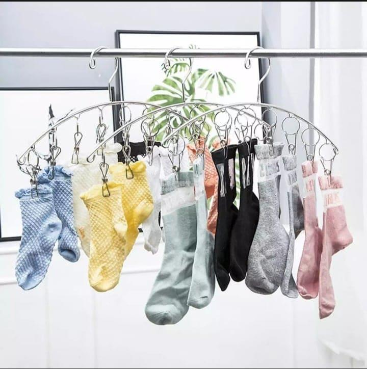 Stainless Steel Laundry Drying Rack Clothes Hanger with 8 Clips~ SET O