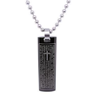 stainless steel necklace with cross sign - black