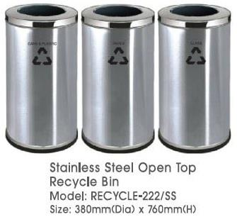 Stainless Steel Round Open Top Recycle Bin 3in1 Recycle 222SS