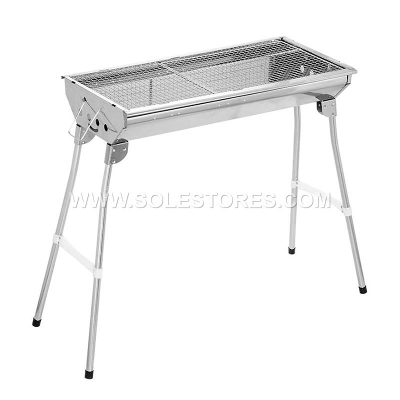 Stainless Steel Portable Folding Charcoal BBQ Grill 70 X 70 Cm