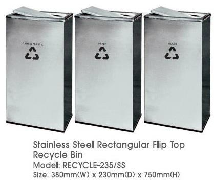 Stainless Steel Rectangular Flip Top Recycle Bin 3in1 Recycle 235SS