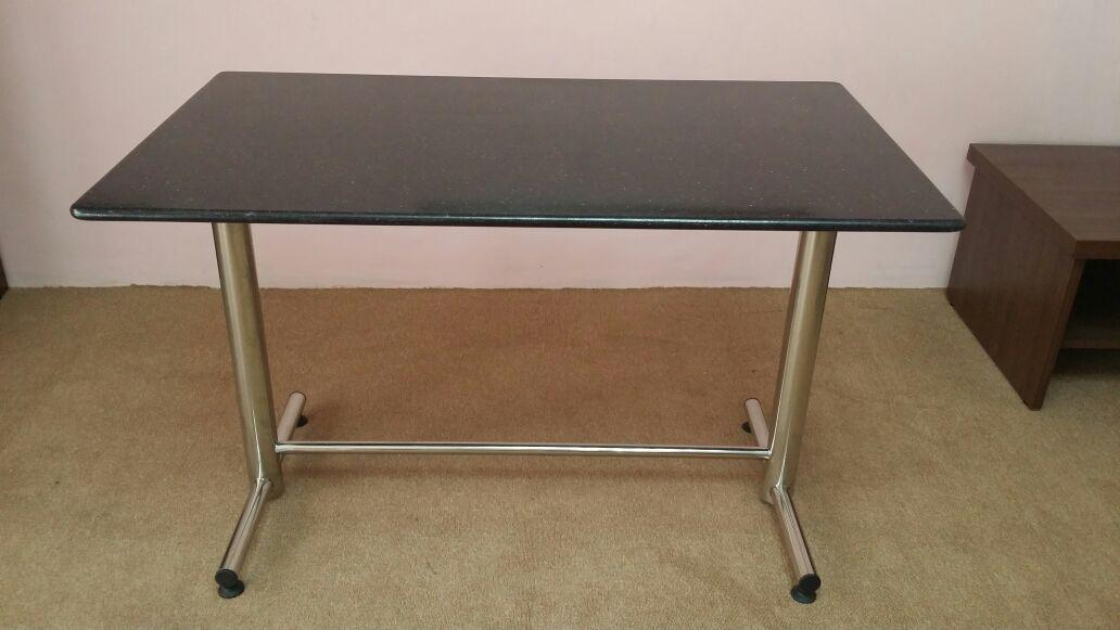 Stainless Steel Rectangular Table With Granite Top