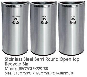 Stainless Steel Semi Round Open Top Recycle Bin 3in1 Recycle 229SS