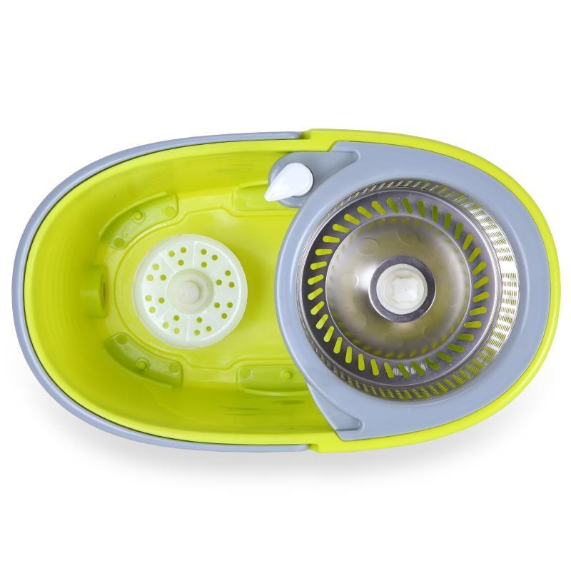 stainless steel spin mop wheel bucket with 2 microfibre mop heads