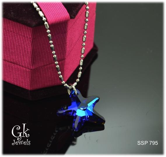 com crystal dp amazon choker with swarovski bermula quot elements pendant star fish necklace blue leather