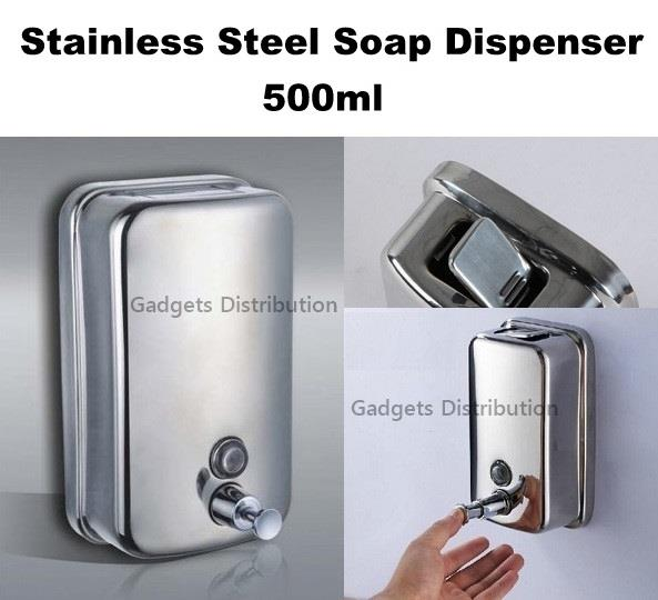 Stainless Steel Wall Mounted Shampoo Soap Pump Dispenser 500ml 2420.1