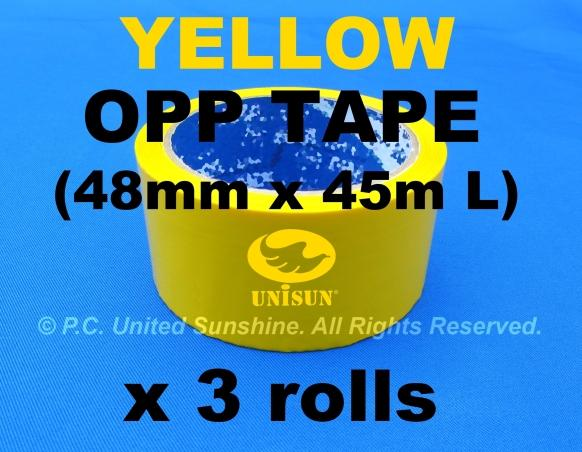 Standout YELLOW OPP TAPE 48mm x 45m (50Y) L x 3 ROLLS Bright Vibrant!