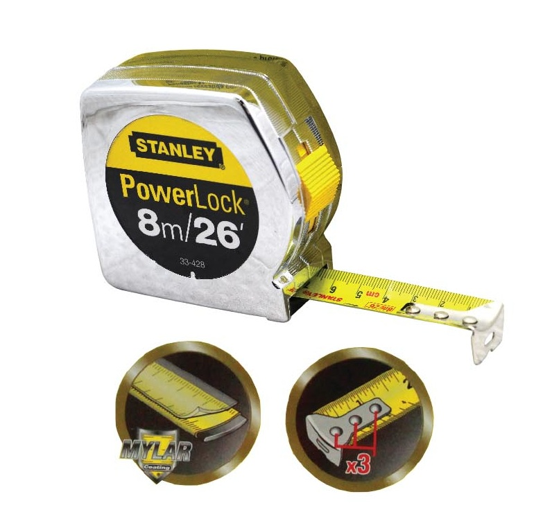 STANLEY 33-428 8M/26FT POWERLOCKⓇ MEASUREMENT TAPE ABS CASE YELLOW