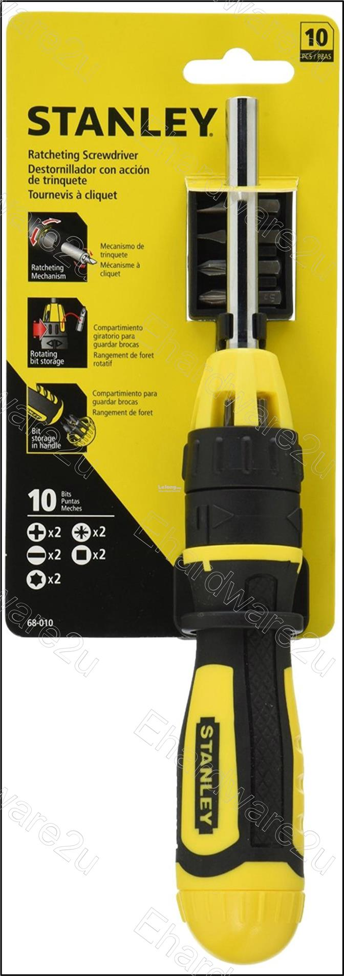 STANLEY Multi-Bit Ratchet Screwdriver With 10-Bits (68010)