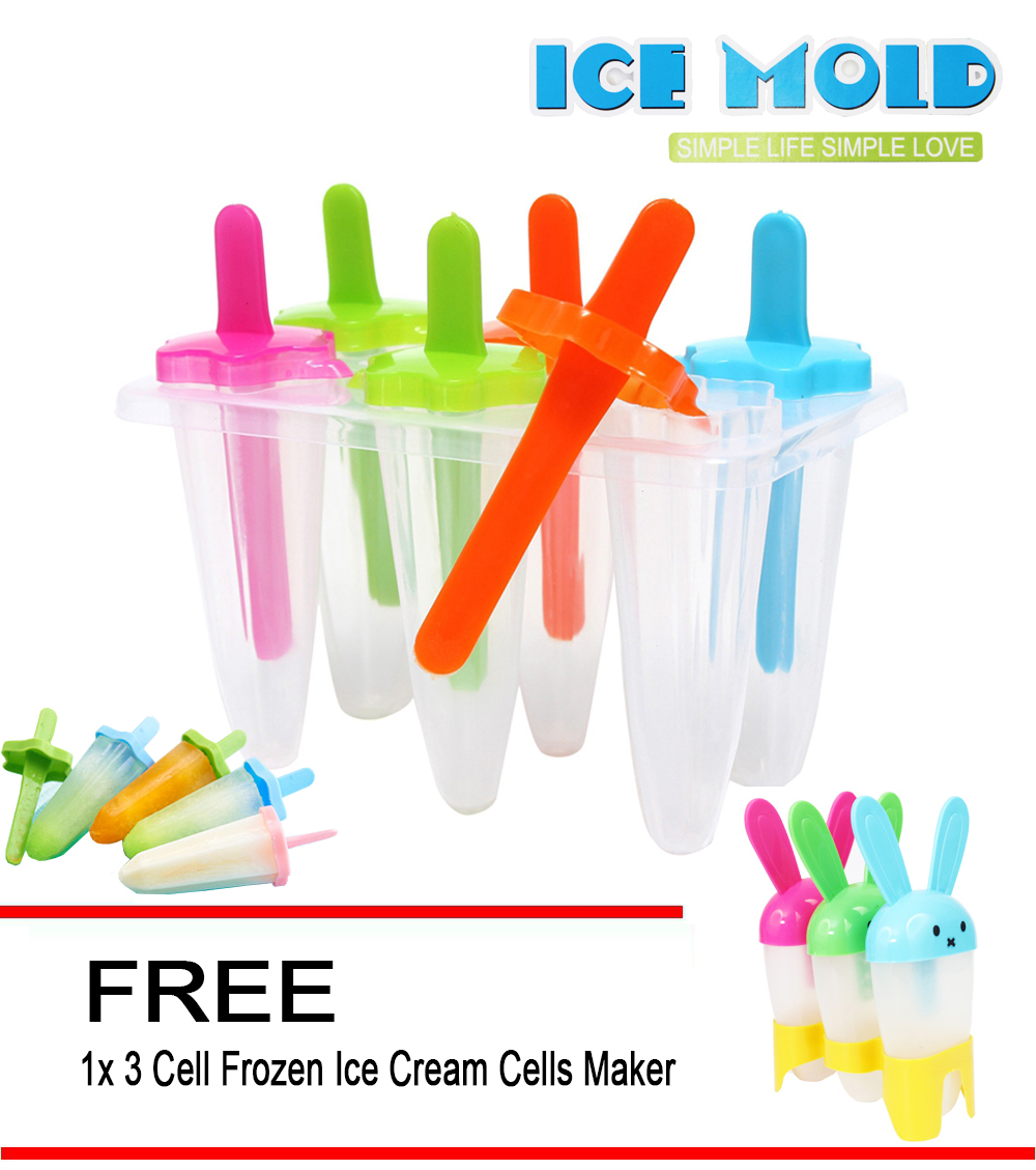 Star DIY 6 Cell Frozen Ice Cream Mold Maker Cream Lolly Box Container