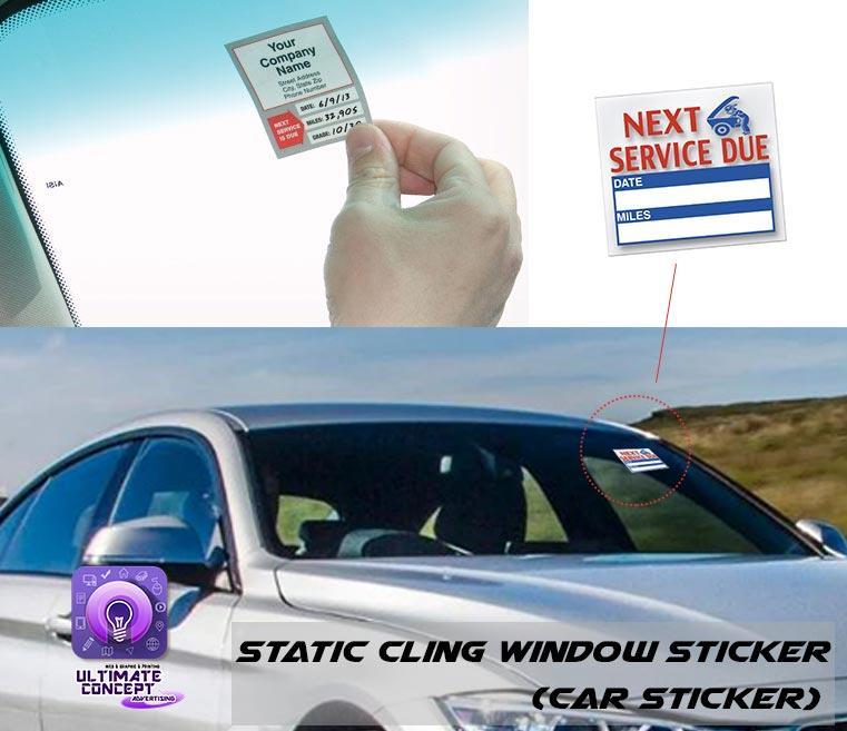 Static cling window sticker car service sticker 100pcscar sticker