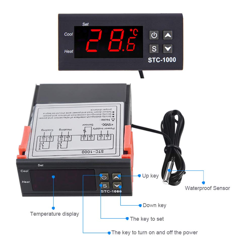 STC-1000 LED Digital Temperature Controller Thermostat Regulator Relay