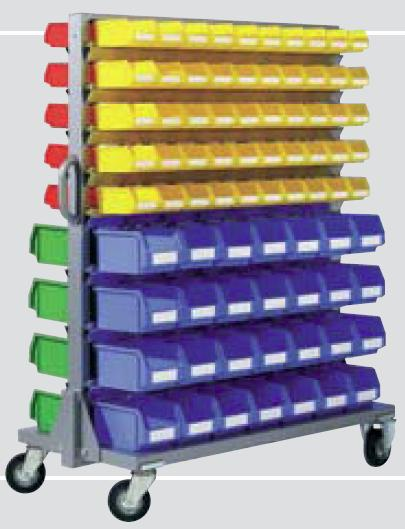 Steel Mobile Bin Container Rack Trolley With 98 Polyethylene Bin R40PP