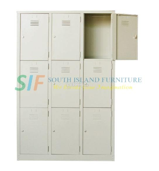 STEEL MULTIPLE LOCKER 9 COMPARTMENT (915W x 457D x 1828H mm)