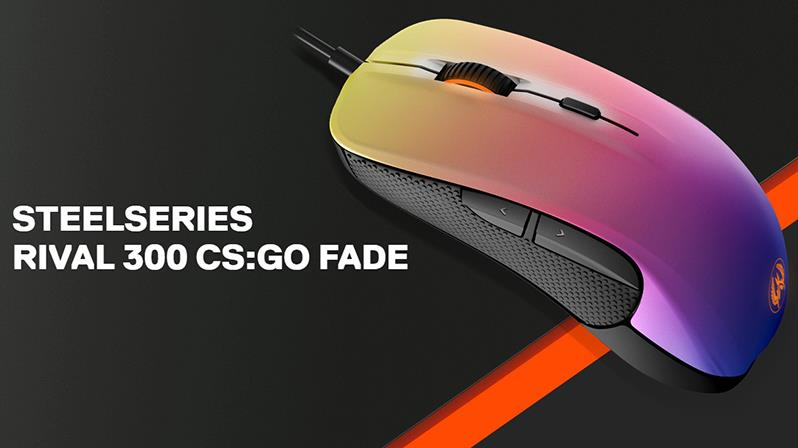 Steelseries rival 300 csgo fade edition gaming mouse.