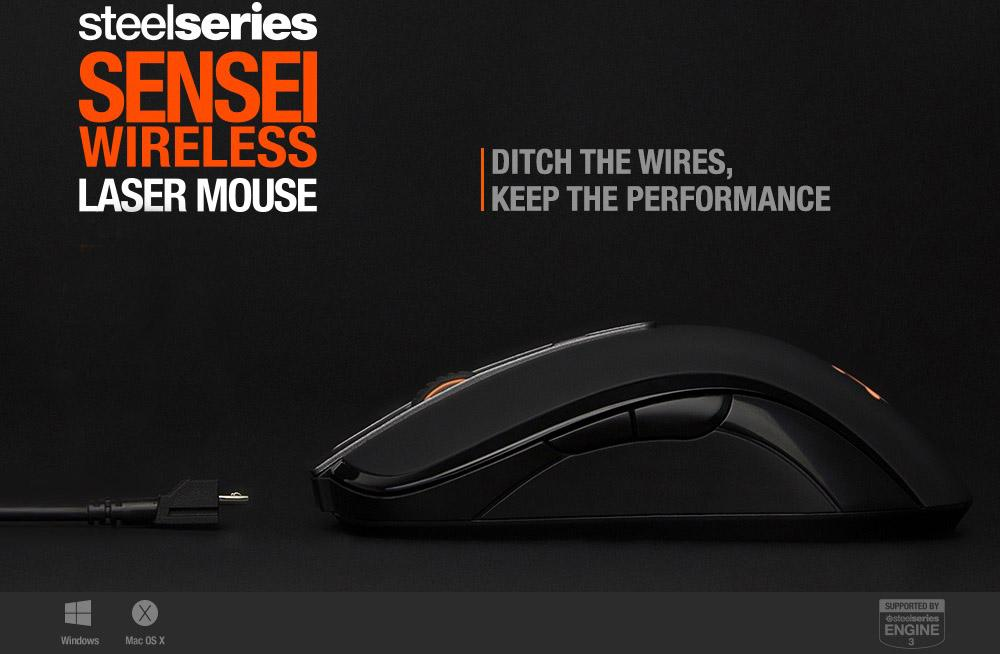 STEELSERIES SENSEI WIRELESS LASER GAMING MOUSE for PC LAPTOP