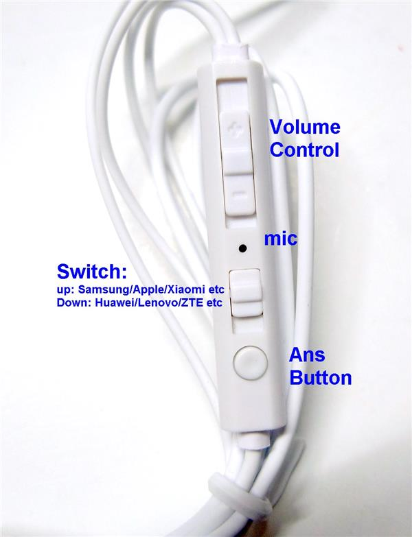 Stereo Handsfree Earphone mic volume control switch microphone