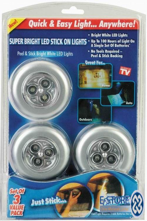 stick n click led light 3pcs in 1 pack